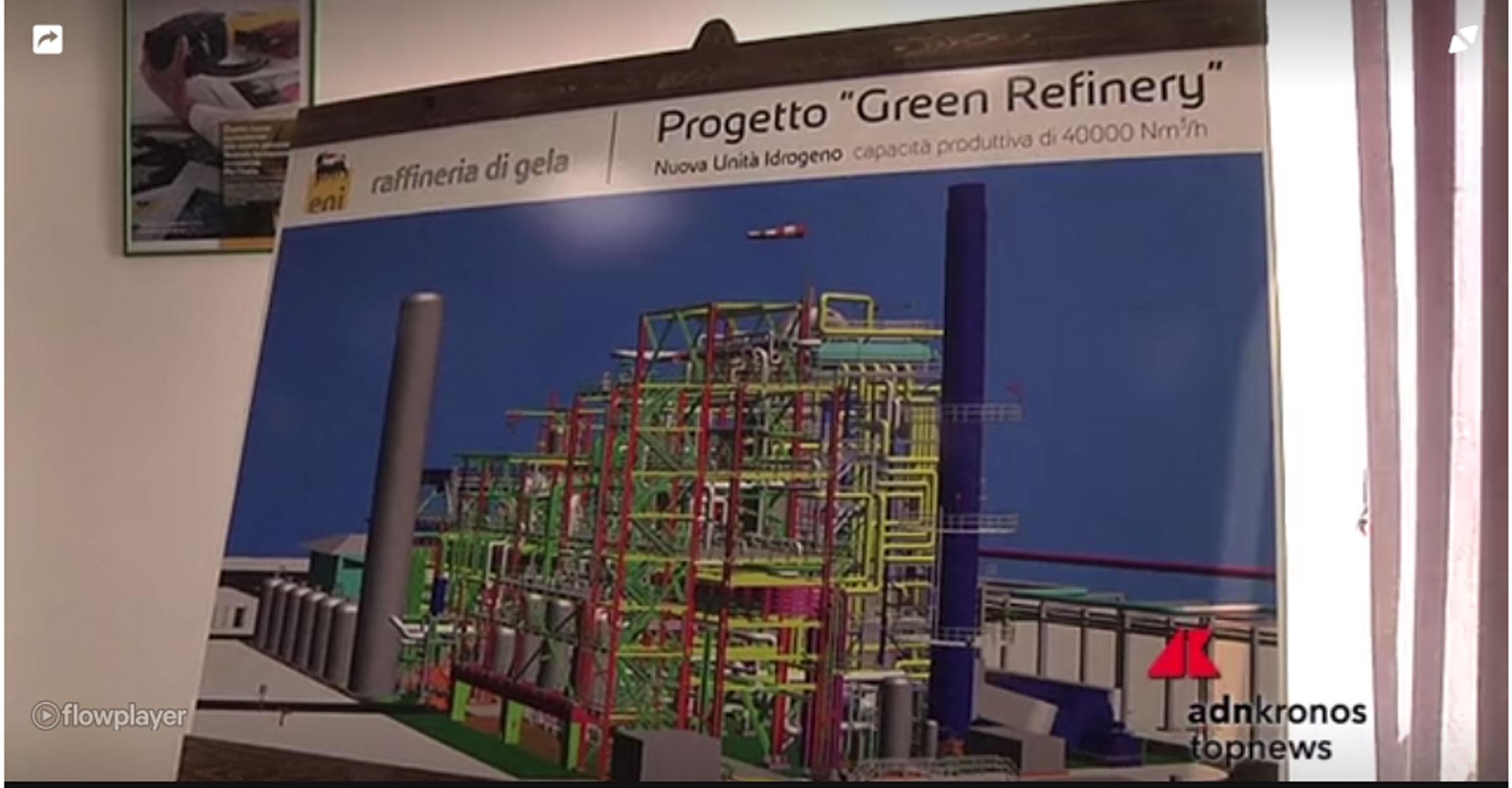 """Video estratto dal sito Adnkronos.it , visita alla Raffineria di Gela. """"Eni: La Raffineria di Gela diventa """"Green""""."""